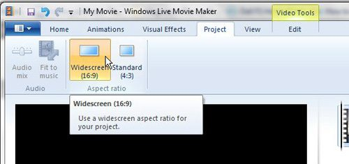 Select your desired Windows Live Movie Maker aspect ratio