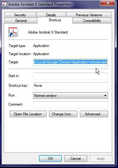 Paste the file URL into the Target field of the desired icon
