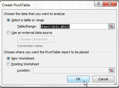 Create a new sheet for your pivot table