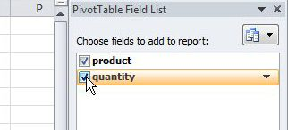 Select the fields to include in the pivot table