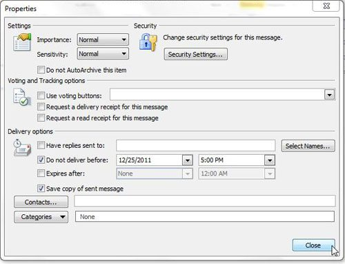 Delay the delivery of a message in Outlook 2010