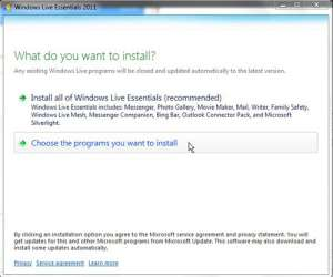Selectively Choose Windows Live Essentials programs to install