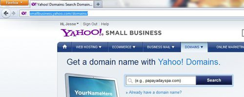 Use Yahoo Domain Search