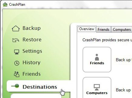 CrashPlan Destinations