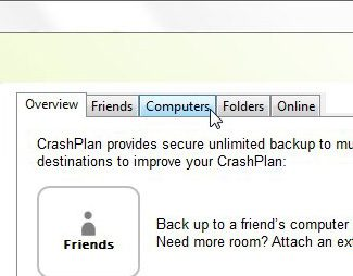 Click Computers at the top of the CrashPlan menu