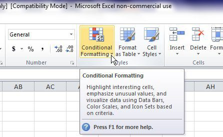 Open the conditional formatting menu