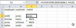 Excel compare columns with VLOOKUP
