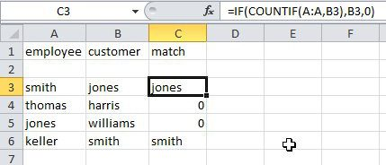 Excel compare columns with an IF statement