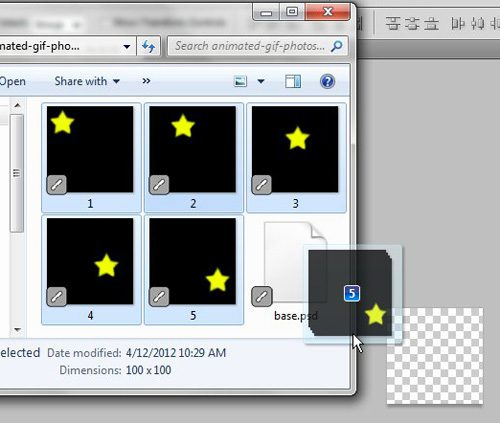 drag the frames that you want to use for your animated GIF in Photoshop CS5