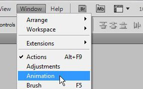 open the animation window where you will configure your animated GIF in Photoshop CS5