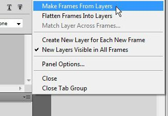 make frames from layers for your animated GIF in Photoshop CS5