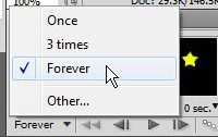 select for how long you want your animated GIF in Photoshop CS5 to loop