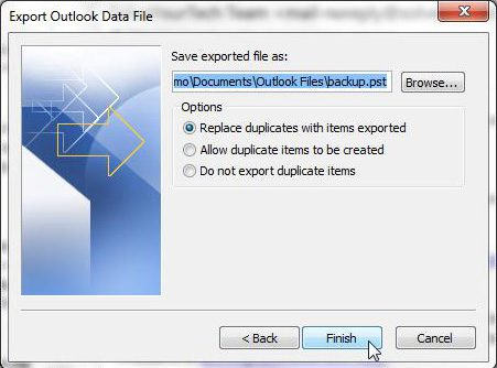 choose the location for your backup outlook 2010 file