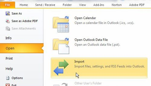 open the import export tool to backup outlook contacts