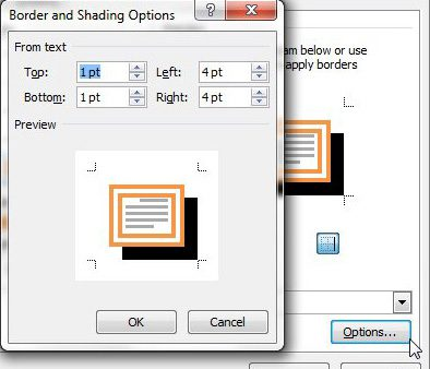 margin options for your paragraph borders for word documents