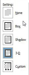 settings option for page borders for word documents