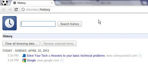 Google chrome history window