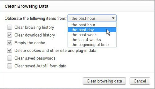 select the chrome history time frame that you want to delete