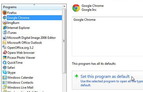 choose your default web browser from the list of programs at the left