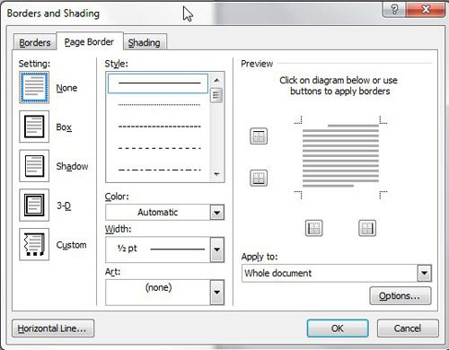 customize document borders on the borders and shading window