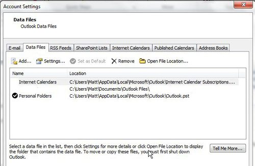 location of pst file is listed to the right of each pst file