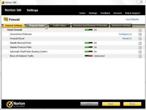the firewall menu contains options to configure norton 360 firewall settings