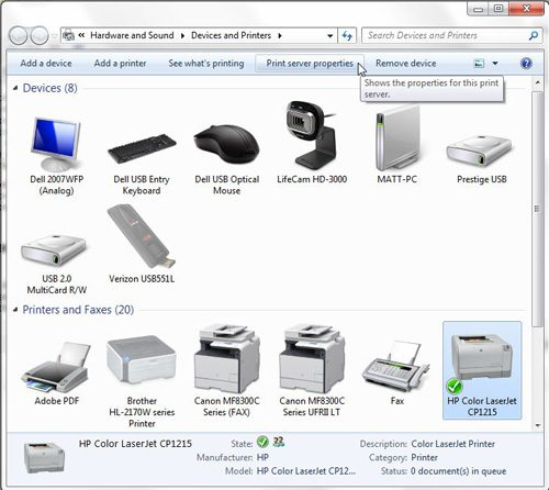 use the print server properties menu to remove old printer drivers