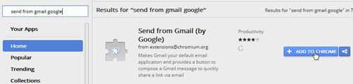 use the send from gmail extension to set gmail as default