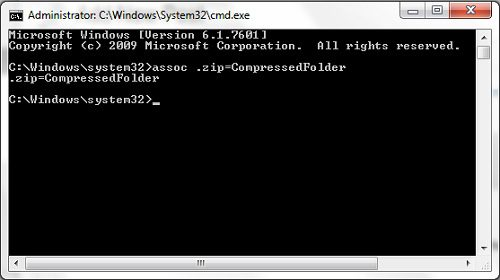 use command prompt to set windows 7 default zip program
