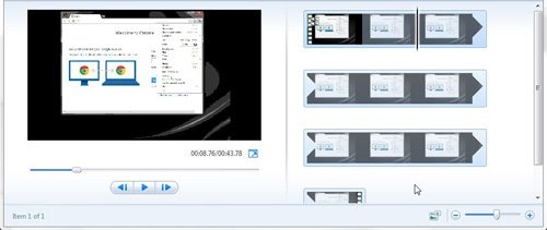 windows live movie maker main sections