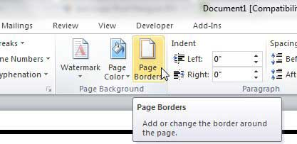 click the page borders button on word's page layout tab
