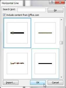 how to insert an artistic or decorative horizontal line in word 2010