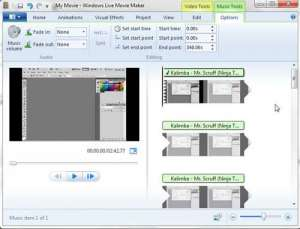 how to add music or audio to windows live movie maker