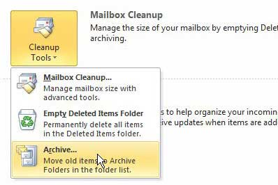 click the archive option under the cleanup tools section