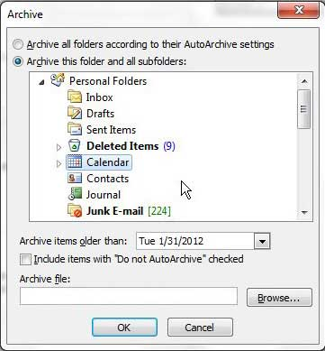 How to Archive the Calendar in Outlook 2010 - Solve Your Tech