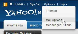 open the mail options menu in yahoo mail