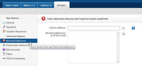 how do you block an address in yahoo mail