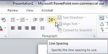 change powerpoint line spacing