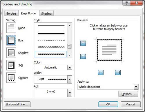 use the borders and shading menu to select your page border options