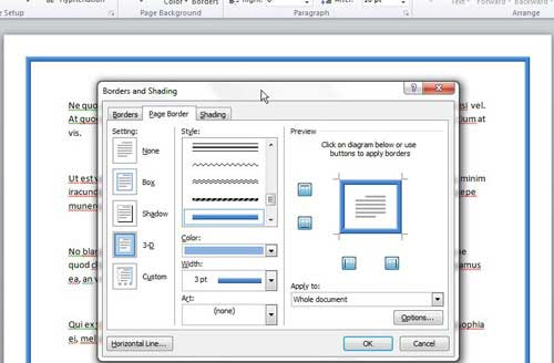 how to change page borders in word 2010