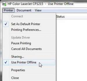 how do i change my printer from offline to online in windows 7