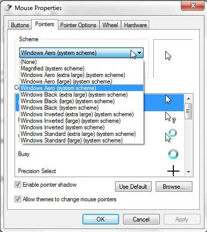 how to change the mouse pointer on windows 7 computers