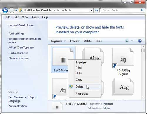how to delete a font in windows 7