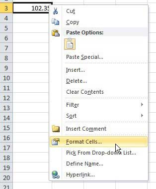 open the format cells menu