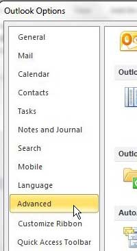 open the advanced tab of the outlook 2010 options menu