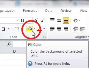 use the Excel fill color icon to fill a cell, row or column with color