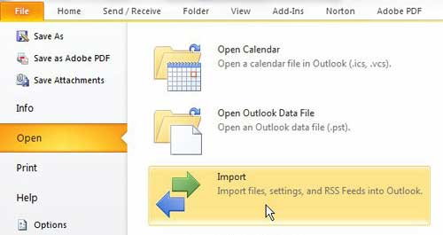 launch outlook's import and export wizard