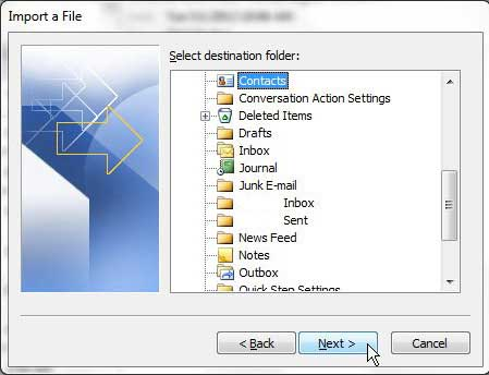 choose the contacts folder as the destination for your imported file