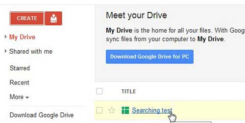 open the google docs spreadsheet that you want to search
