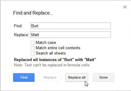 how to find and replace in a google docs spreadsheet